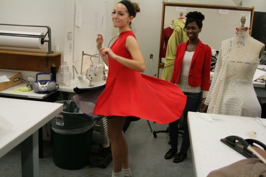 Fatoumata and FBP Company Apprentice Mady Issa at the first fitting for the Little Red Riding Hood Costume.