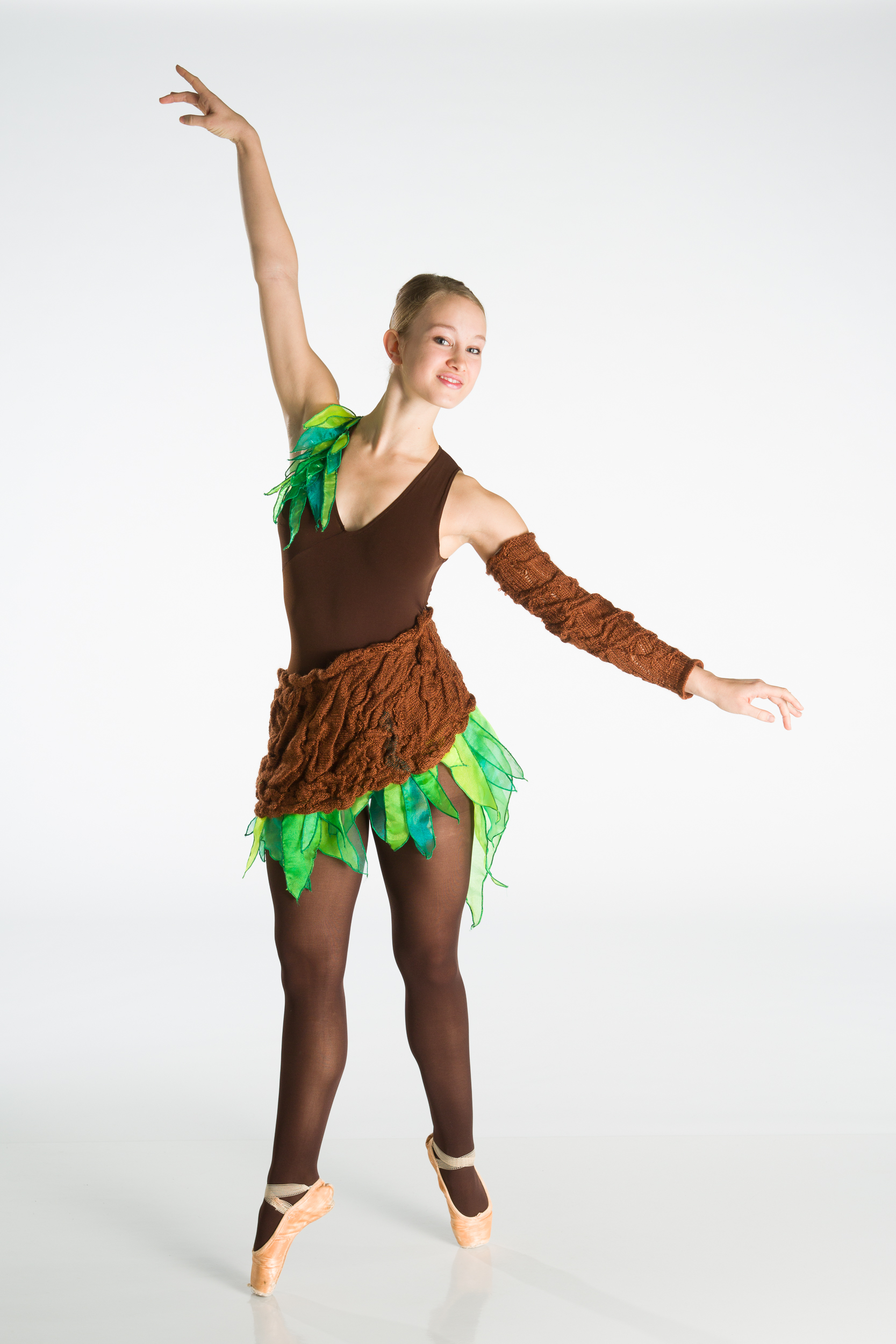 Chapman in the final product of the Tree costume. Design by Jennifer Kim. Photo by Matt Francis.