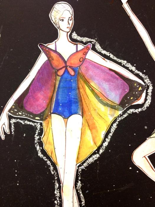Butterfly costume sketch. Design by Jessie Kim.